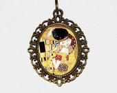 The Kiss Necklace, Gustav Klimt, Art Nouveau, Fine Art Jewelry, Oval Pendant