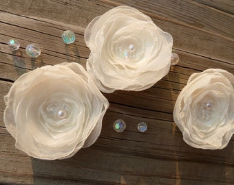 Soft and Sweet Chiffon Bridal Flowers in Ivory or White with Pearl and Iridescent Accents Hairclip, Bobby Pin, Brooch or Appliqué