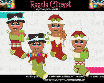 Winter Gingerbread Boys Stockings 1 Clipart (Digital Download)
