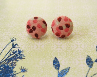 Multi-Colored Fabric Button Earrings