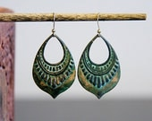 Patina Art Deco Drop Earrings Verdigris Ornamental Charm Rustic Patina Jewelry - E263
