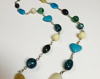 Long Chain Beaded Necklace Turquoise, Green, Cream, and Black with Turquoise Hearts