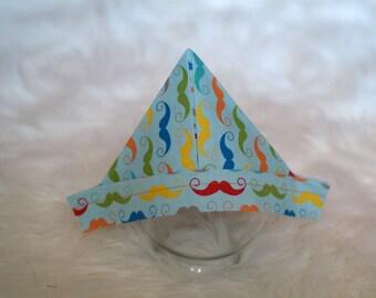 "Newspaper Hat, Rainbow Mustache Fabric ""Newspaper"" Sailor Hat, Newborn Photography Prop, Baby Newspaper Hat, Newborn"