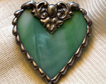 Heart (Green) Stained Glass Pin / Brooch
