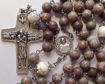 Pope Francis Rosary, Official Cross of Pope Francis, Pope Center with Papal Seal, Five Decade, Strong, Stainless Steel, Gemstone Rosary