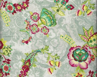 "Grey Floral Fabric by Anna Griffin, ""Mirabelle"" Collection, 100% Cotton Fabric, sold By-The-Yard, Great for Quilting, Crafting, Sewing!"