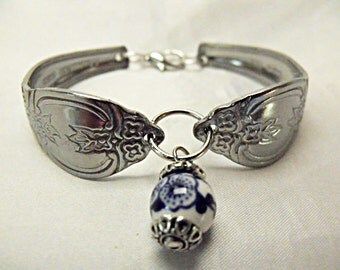 Silver Spoon Bracelet,   With Blue And White Porcelain Bead, Recycled Stainless Spoon  Womens Gift Handmade