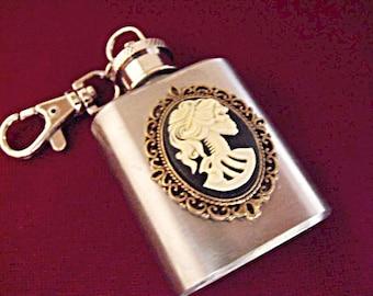 Gothic Flask Lolita Cameo Mini 1 Ounce Keychain
