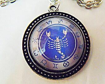 Silver Pendant Necklace,  Zodiac Symbol Scorpio Mens Womens Gift  Handmade