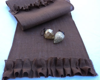Brown Burlap Table Runner Chocolate Brown Table Runner Dark Brown Home Decor Wedding Table Runners Custom Sizes Available