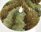 """Full 13"""" strand green shaded GROSSULAR GARNET faceted rondelle gem stone beads 3.5mm"""