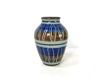 Vintage Mid Century Ceramic Vase // Blue/Brown/Grey Small Slipware Vase by Marzi and Remy // Made in Germany