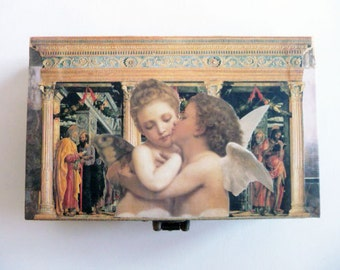 Angel Box - small romantic box with little cherubs - for the angel in your life - Spring gift idea - decorative altered art OOAK box
