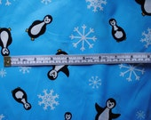 Winter Penguin PUL Polyurethane Laminate BLUE with Penguins and Snowflakes for Diapers and Wet Bags (Diaper Cuts)
