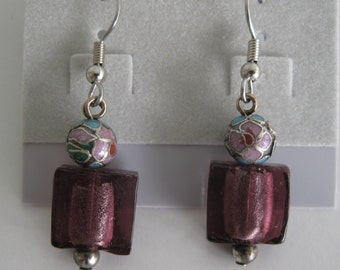 Purple foil glass and cloisonne earrings