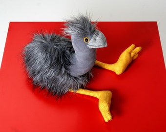 Grey Emu - Native Australian Bird, Furry Soft Toy, Stuffed Animal, Plush Toy