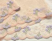 Lace Trim, Apricot Lilac Floral trim, Lilac Lace Flowers, Girls Dresses, Baby Dress, Dolls, Lace Crafts