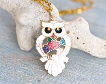 Art Nouveau Owl Necklace - Enamel Pendant on Chain Necklace