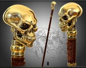 HUMAN SKULL CANE walking stick gothic style authors made top handle 999 silver plated with gold effect