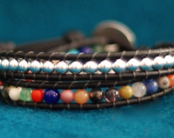 Inspired boho stackable 2x leather wrap bracelet with multi-colored gemstones and silver beads on brown leather (B326)