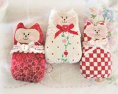 Cat Ornaments, Valentine's Day Red Set of  3  Kitties, Ornies Bowl Fillers Party Favors Decorations Home Decor CharlotteStyle