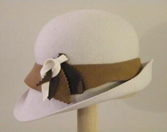 Winter white wool felt cloche hat,  off white womens Dwonton Abbey winter hat  - Gatsby 20's style hat handmade in Israel Rana Hats