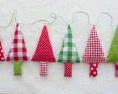 Fabric christmas tree garland christmas bunting