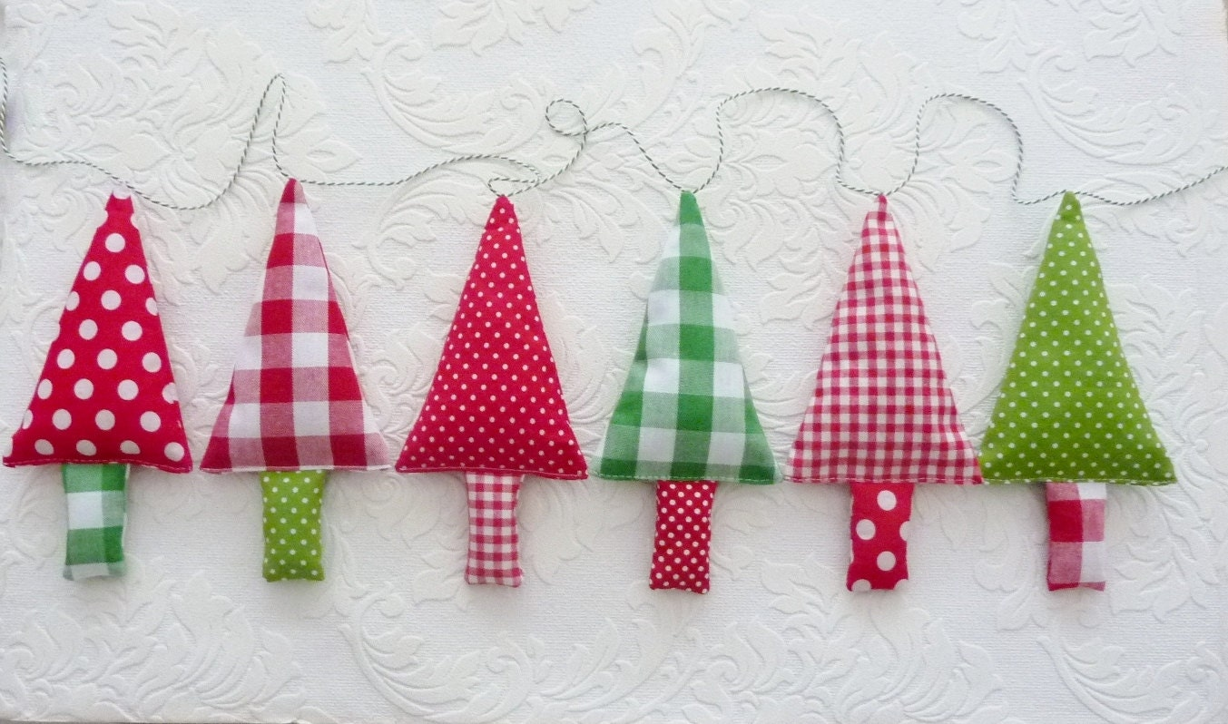 Fabric Christmas Tree Garland Christmas Bunting By Fromjeanne