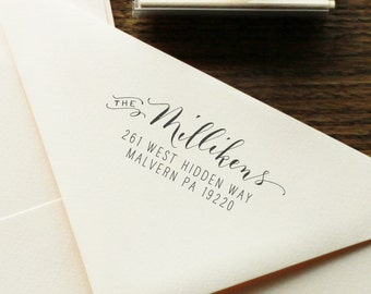 Handwritten Calligraphy Return Address Stamp -- Mixed Calligraphy and type - Modèrne Style