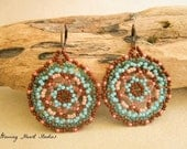 Beaded Huichol Earrings - turquoise terra cotta green pink - sacred truth mandala art - disc - circle - round