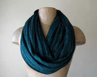 DARK TEAL Infinity Scarf - Ribbed Sweater Knit Loop Scarf - Womens Fashion Scarf
