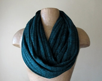 DARK TEAL Infinity Scarf - Ribbed Sweater Knit Loop Scarf - Womens Fashion Scarf - Gem Tone Tube Scarf - Jewel Tone Scarf
