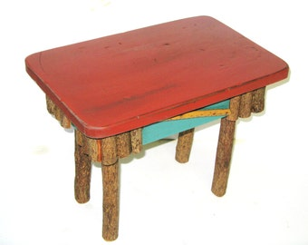 RUSTIC FOOTSTOOL, Adirondack Bench, Tramp Art, Folk Art, Primitive Stool, Twig Bench, Stick Bench, Wood, Wooden, Fireside Stool, Bench, Seat