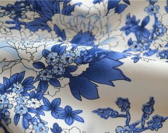2 patterns chinese folk soft dress skirt shirt blue and white porcelain bourette fabric one yard