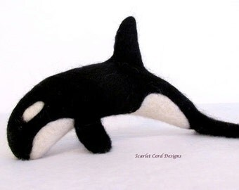 Orca, Black and White, Needle Felted Whale, Killer Whale, Nautical Decor, Wool Felted Sculpture