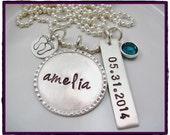 Hand Stamped Sterling Silver baby name Birth Date Necklace