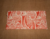 Organizational Pouch - Toothbrush - To Do List - Home Decor File - First-Aid Kit Portable Travel Size Pouch - orange paisley - fabric