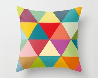 Geometric pillow cover with colourful and big triangles, decorative pillows, pillow cover, kids pillow, cushion cover, nursery pillow, kids