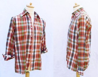 70s green red yellow long sleeved plaid fitted shirt S / M