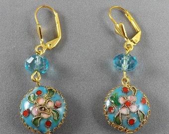 "Handmade-1.25"" blue Cloisonne beads w/floral,CrystalEarrings,leverback earrings, blue"
