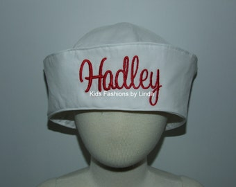 Personalized White/Red  Girl Sailor Hat