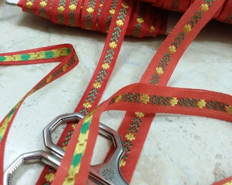 """3/8"""" or  1/2""""  Narrow Red Vintage french embroidered Ribbon Trim # 295"""