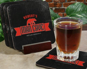 Personalized Man Cave Coaster Set, Grandpa, bar, mancave, Father's Day gift, barware, custom, dad gift,Father -gfy672489CS