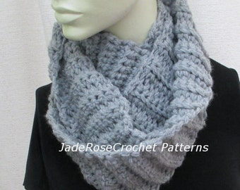 Crochet Scarf Pattern, Crochet Cowl Pattern, Unisex Double and Triple Wrap Infinity Scarf Pattern PDF230