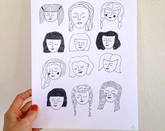 Twelve Girls Illustrated Print