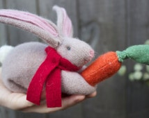 Cashmere Cuddle Bunny rabbit With Scarf and Cashmere Carrot