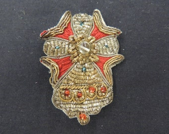 Vintage Sewn Beaded Cross Material Red & Gold Religious Brooch Pin