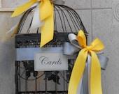 Birdcage Wedding Card Holder / Card Box / Wedding Card Holder / Wedding Decoration /  Birdcage Cardholder / Yellow And Grey Wedding
