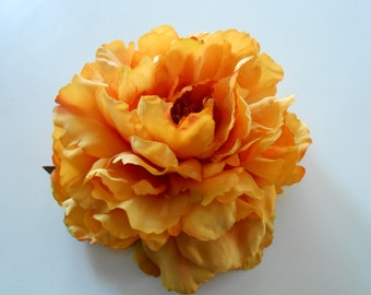 Gold Silk Peony / Silk Flower / Artificial Peony / Silk Peony / DIY Flower / Fake Flowers  / Yellow/Gold Silk Flower / Hair Flowers
