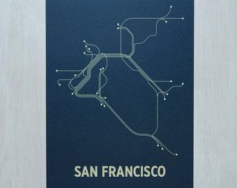 San Francisco Screen Print - Navy/Tan